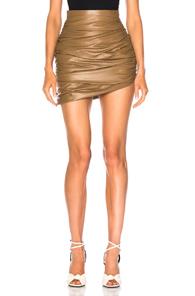 Zeynep Arcay For Fwrd Draped Mini Leather Skirt In Brown