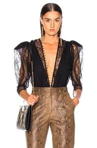 Zeynep Arcay For Fwrd Lace Deep V Neck Bodysuit In Black