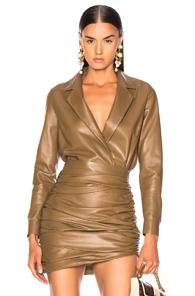 ZEYNEP ARCAY Zeynep Arcay For Fwrd Leather Shirt Bodysuit In Brown