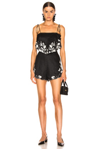 Juniper Embroidered Linen Playsuit in Black,Floral,White