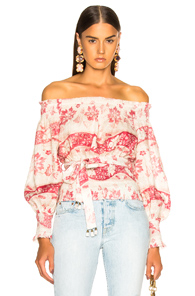 ZIMMERMANN BAYOU TOP IN RED FLORAL