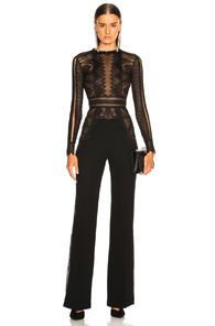 ZUHAIR MURAD LACE LONG SLEEVE JUMPSUIT IN BLACK