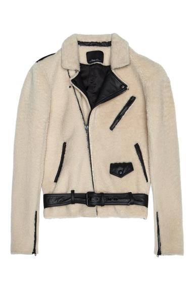 3.1 PHILLIP LIM | Shearling Moto Jacket in Natural & Black