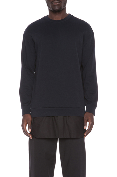 3.1 PHILLIP LIM | French Terry Cotton Pullover with Shirt Tail in Midnight
