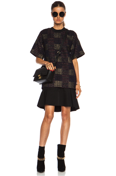 3.1 PHILLIP LIM | Patchwork Tweed Shirt Dress with Flounce Skirt in Navy Multi