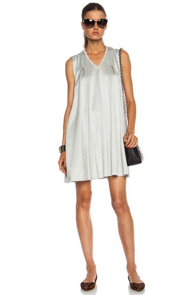 3.1 PHILLIP LIM   Gathered Shoulder V-Neck Cotton-Blend Dress in Grey Melange