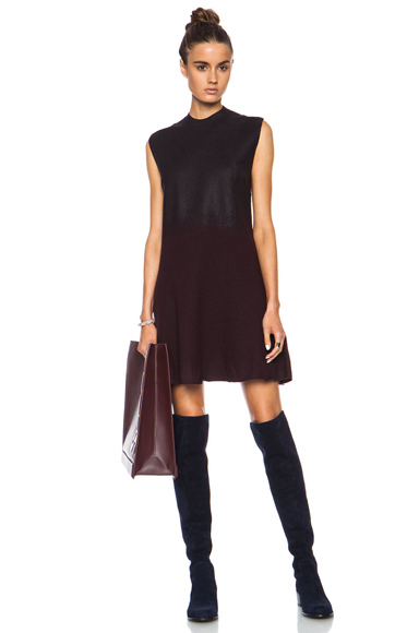 3.1 PHILLIP LIM   Felted Wool Dress with Fading Foil Print in Mulberry & Black