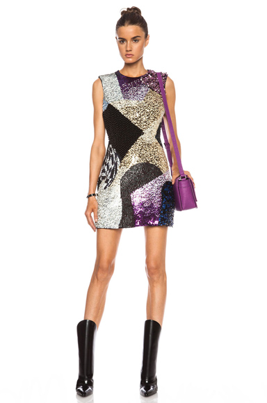 3.1 PHILLIP LIM   Sculpted Waist Wool Dress with Twilight Embellishment in Black