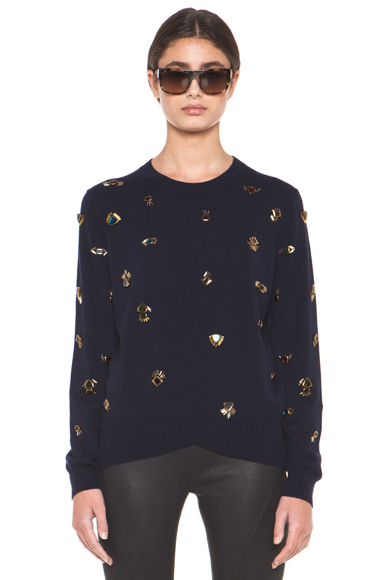 3.1 PHILLIP LIM | All Eyes On You Pullover Embroidered Sweater in Navy