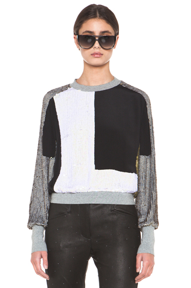 3.1 PHILLIP LIM | Collage Sequin Sweat Top in Frost