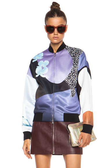 3.1 PHILLIP LIM | Grafitti Floral Poly Bomber in Purple & Caramel