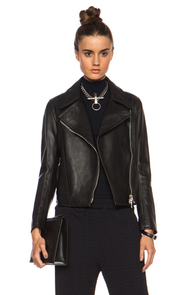 3.1 PHILLIP LIM | Pointed Collar Moto Leather Jacket in Black