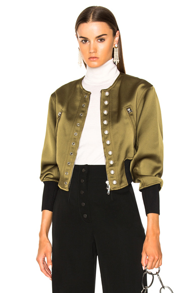 31 phillip lim Bomber Jacket with Pearls in Green