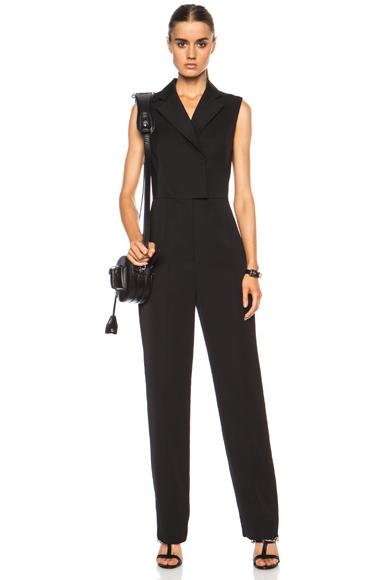 3.1 PHILLIP LIM   Sleeveless Tuxedo Wool Jumpsuit in Black