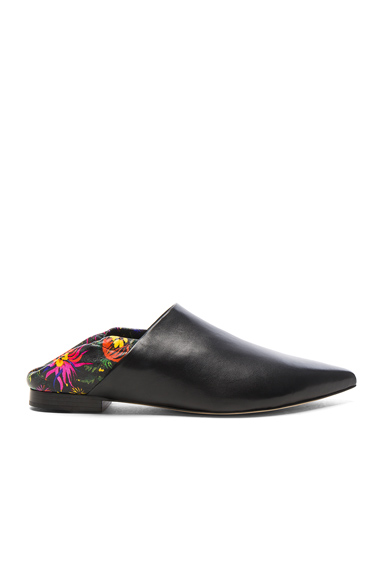 31 phillip lim Leather Babouche Slides in Black, Floral