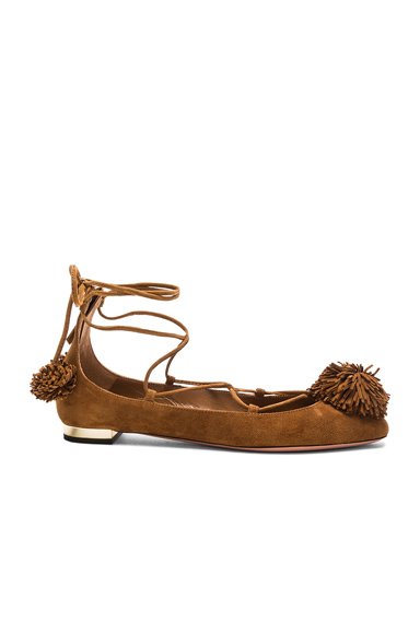 Aquazzura Sunshine Flat in Brown