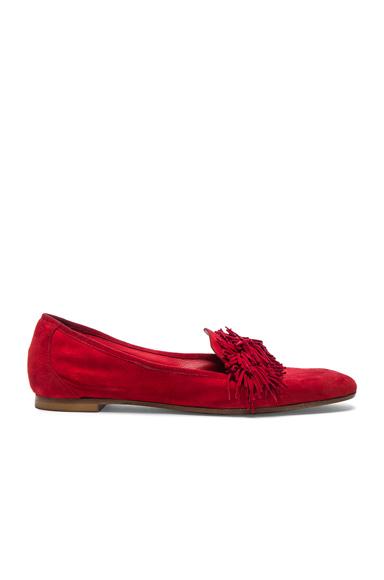 Aquazzura Suede Wild Loafer Flats in Red