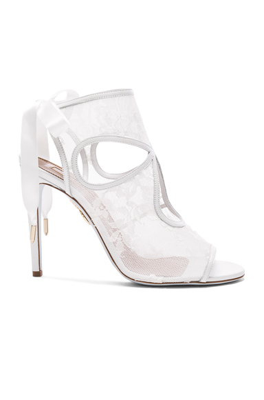 Aquazzura Lace Sexy Thing Bridal Heels in White