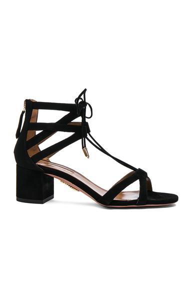 Aquazzura Suede Beverly Hills Heels in Black