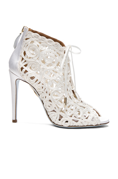 Aquazzura Satin Lattice Kya Bridal Booties in White