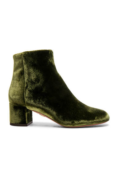 Aquazzura Velvet Brooklyn Booties in Green