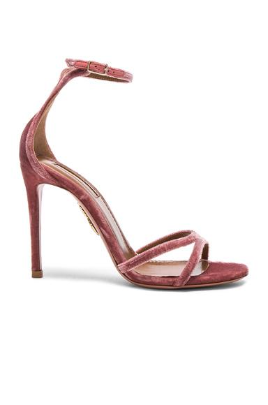 Aquazzura Velvet Purist Sandal Heels in Pink