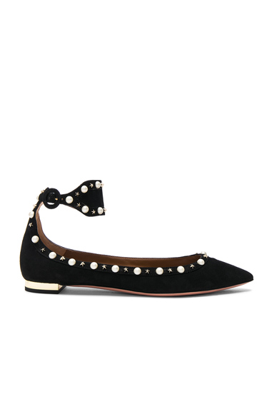 Aquazzura Suede Harlow Flats in Black