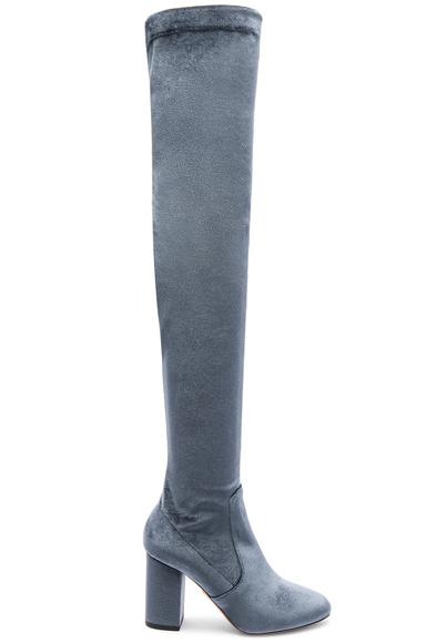 Aquazzura Velvet So Me Boots in Gray, Blue