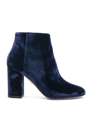 Aquazzura Velvet Brooklyn Booties in Blue