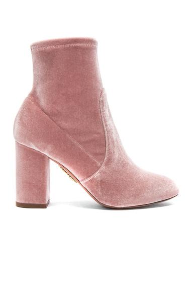 Aquazzura Velvet So Me Booties in Pink