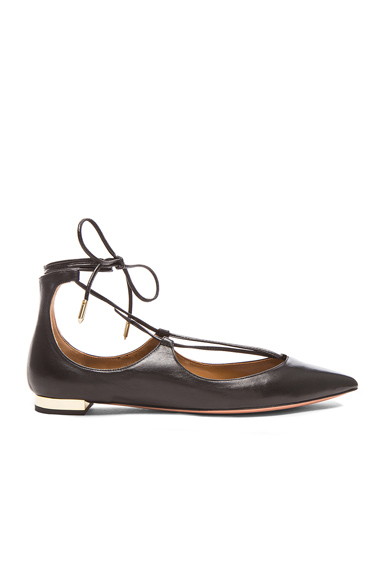 Aquazzura Christy Leather Flats in Black