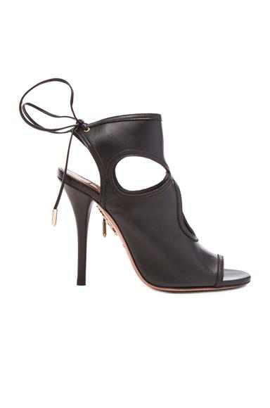 Aquazzura Sexy Thing Leather Heels in Black
