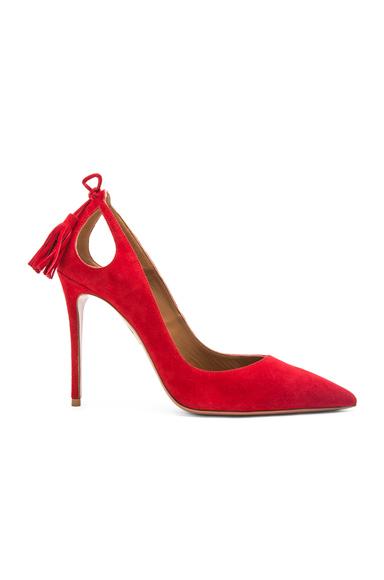 Aquazzura Forever Marilyn Suede Heels in Red