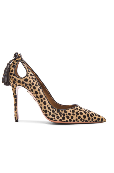 Aquazzura Forever Marilyn Calf Hair Heels in Animal Print, Neutrals