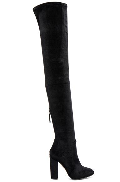 Aquazzura Velvet Thigh Highs in Black