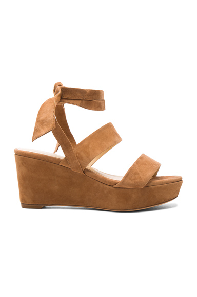 Alexandre Birman Suede Luma Wedges in Brown