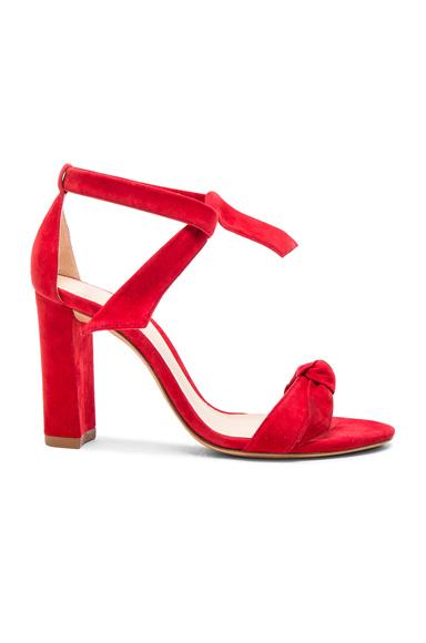 Alexandre Birman Suede Clarita Block Heels in Red
