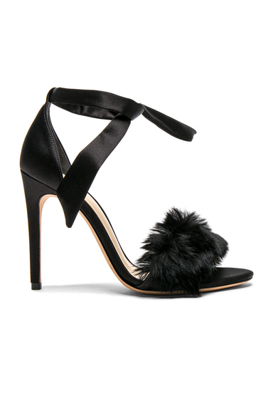 Alexandre Birman Satin Clarita Rabbit Fur Heels in Black