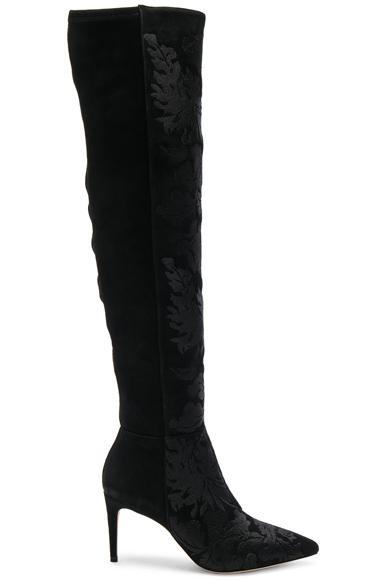 Alexandre Birman Velvet Regina Boots in Black, Floral