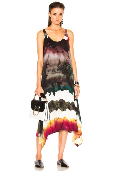 Acne Studios Saleh Dress in Abstract, Green, Ombre and Tie Dye, Pink)