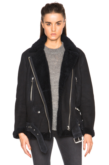 Acne Studios More Lamb Shearling Jacket in Blue