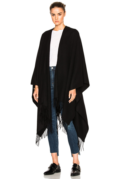 Acne Studios Apolo Fringe Poncho in Black
