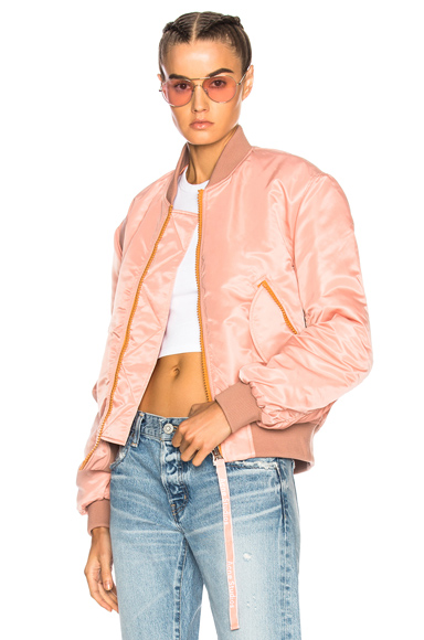 Photo of Acne Studios Clea Bomber Jacket in Pink online womens jacket sales