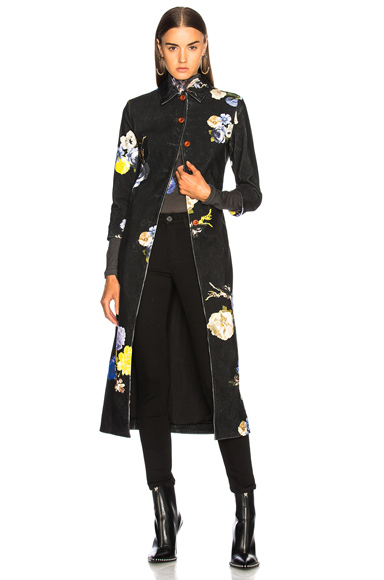 Acne Studios Okki Coat in Black, Floral