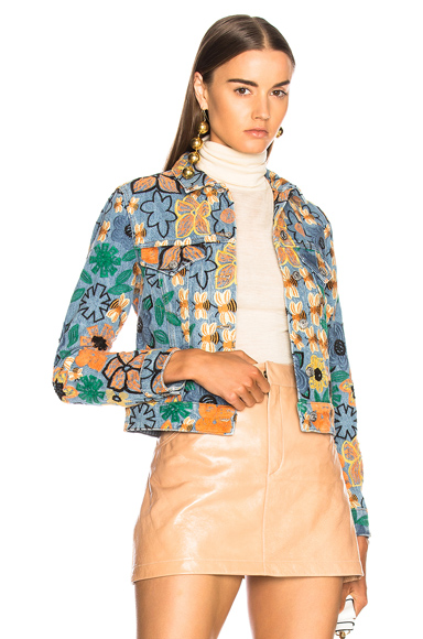 Acne Studios Chea Embroidered Jacket in Blue, Floral