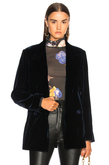 Acne Studios Jara Velvet Blazer in Blue,38,42)