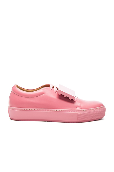 Acne Studios Leather Adriana Turnup Sneakers in Pink