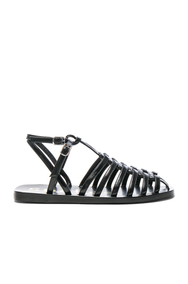 Acne Studios Shiny Leather Omane Sandals in Black