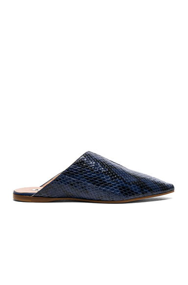 Photo of Acne Studios Leather Amos Babouche Slippers in Blue, Animal Print online womens shoes sales