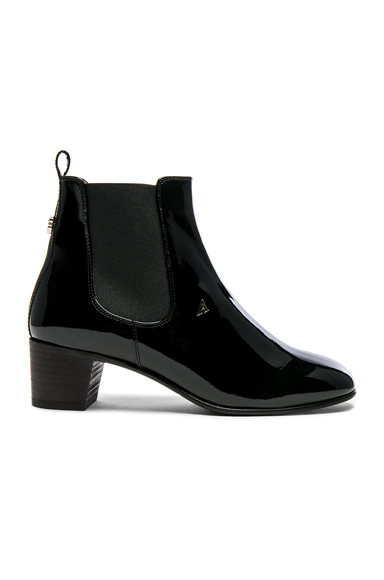 Acne Studios Patent Leather Hely Boots in Black
